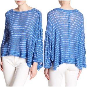 Free People Island Girl Hacci Stripe T-Shirt Blue